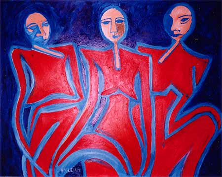 """Raquet Heads in Red Suits, 2000  46 x 56"""". Acrylic on canvas"""