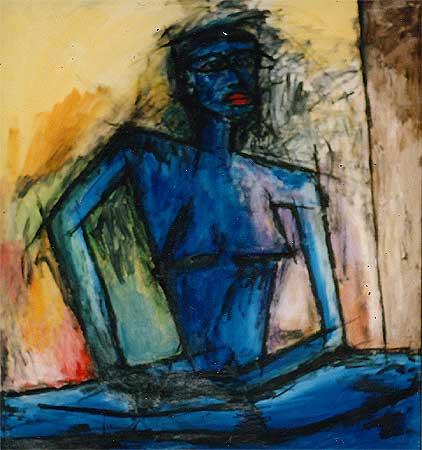"Blue Eye, 2000  55 x 49"". Acrylic on canvas"