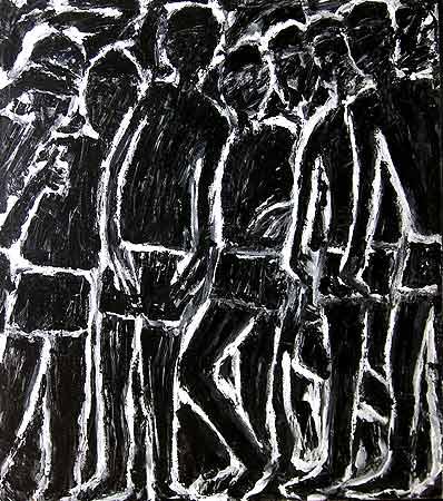 "Boys Standing, 2005 54 x 48"". Acrylic on canvas"
