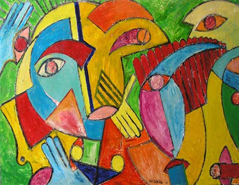 """Face and Hand Landscape, 2001  48 x 72"""". Acrylic on canvas"""