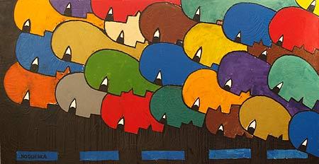 "Marathon, 2006 38 x 74"". Acrylic on canvas"