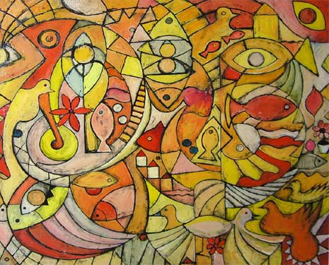 "Mediterranean Ocean, 2006 48 x 64"". Acrylic on canvas"