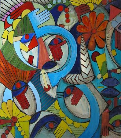 "My Landscape, 2005 64 x 54"". Acrylic on canvas"