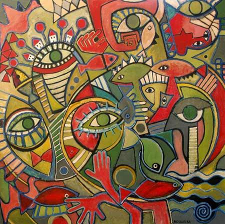 "Underwater, 2006 66 x 66"". Acrylic on canvas"