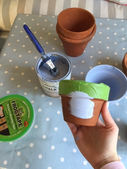 Chalk paint your pots (no prep required). I used FrogTape on the areas I wanted to remain terracotta.