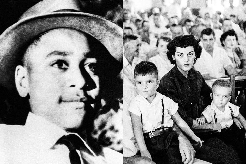 Left, a young Emmett Till; right, Carolyn Bryant with her two sons Roy Jr. and Lamar at Till's murder trial at the Tallahatchie County courthouse in Mississippi, September 1955.