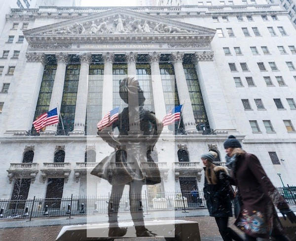 Arthur Piccolo created this rendering of  The Fearless Girl facing off with the New York Stock Exchange. Courtesy of Arthur Piccolo
