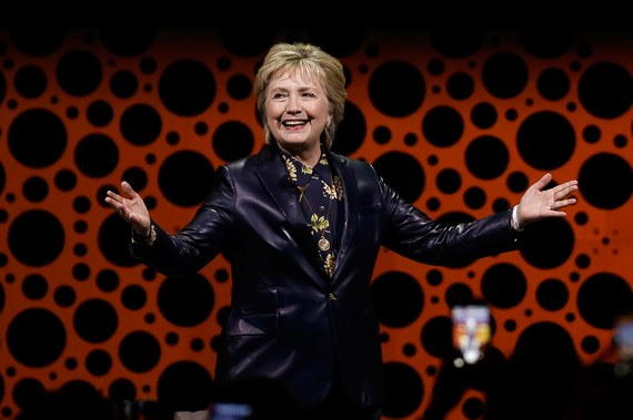 Hillary Clinton speaking in at the Professional Business Women of California's annual conference in San Francisco, 3/28/17. Vogue photo courtesy of AP