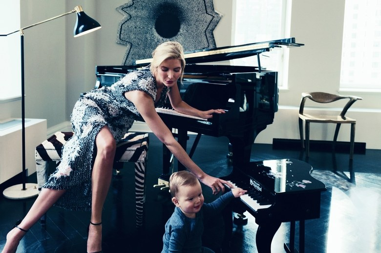 """""""I would say Ivanka is definitely the CEO of our household,"""" says her husband, Jared Kushner. Trump, in an Erdem embroidered tweed dress, with their son, Joseph. De Beers diamond earrings.Photographed by Norman Jean Roy, Vogue, March 2015"""