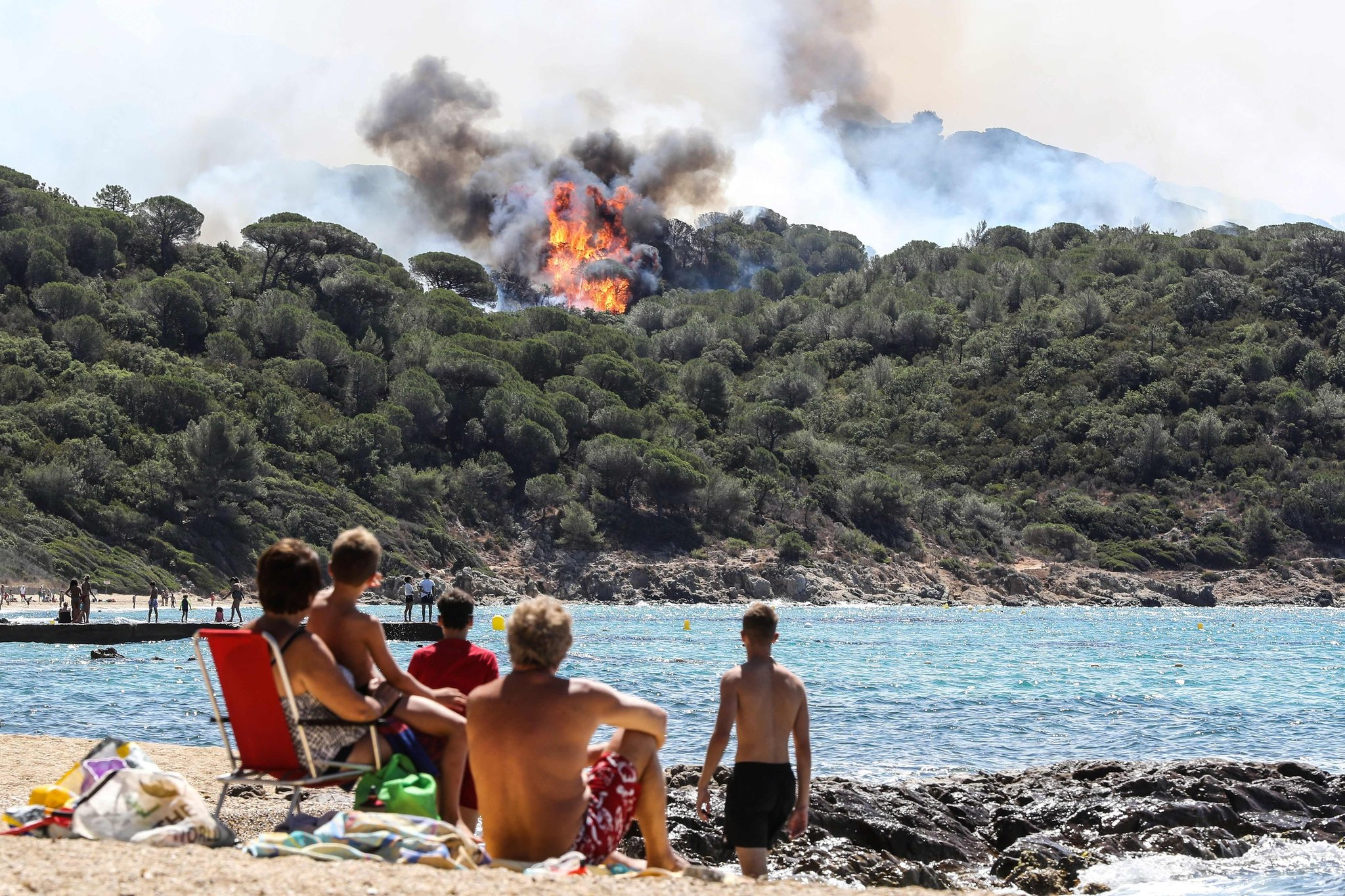 A forest fire in La Croix-Valmer, near Saint-Tropez, France, on Tuesday. CreditValery Hache/Agence France-Presse — Getty Images