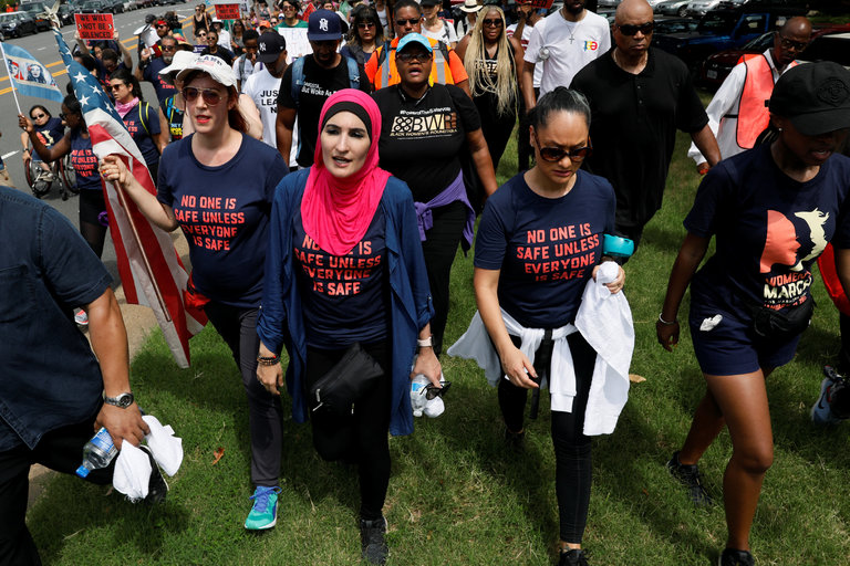 From left, Bob Bland, Linda Sarsour, Carmen Perez and Tamika Mallory, organizers of the Women's March in January, in Washington last month protesting gun violence. CreditJonathan Ernst/Reuters