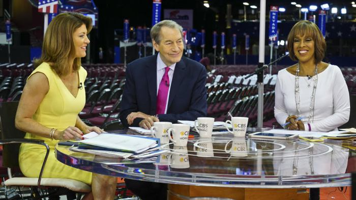 'CBS THIS MORNING' ANCHORS NORAH O'DONNELL, CHARLIE ROSE AND GAYLE KING ON A HAPPIER MORNING THAN NOV. 21, 2017, WHEN THE WOMEN CONDEMNED THE ACTIONS OF THEIR CO-HOST.