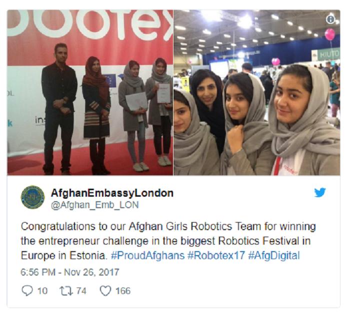 Afghan girls robotics win in Estonia 12-1-17.png