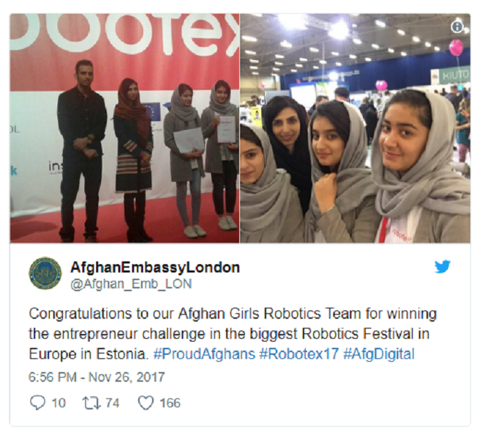 Afghan girls robotics win in Estonia 12-1-17.png