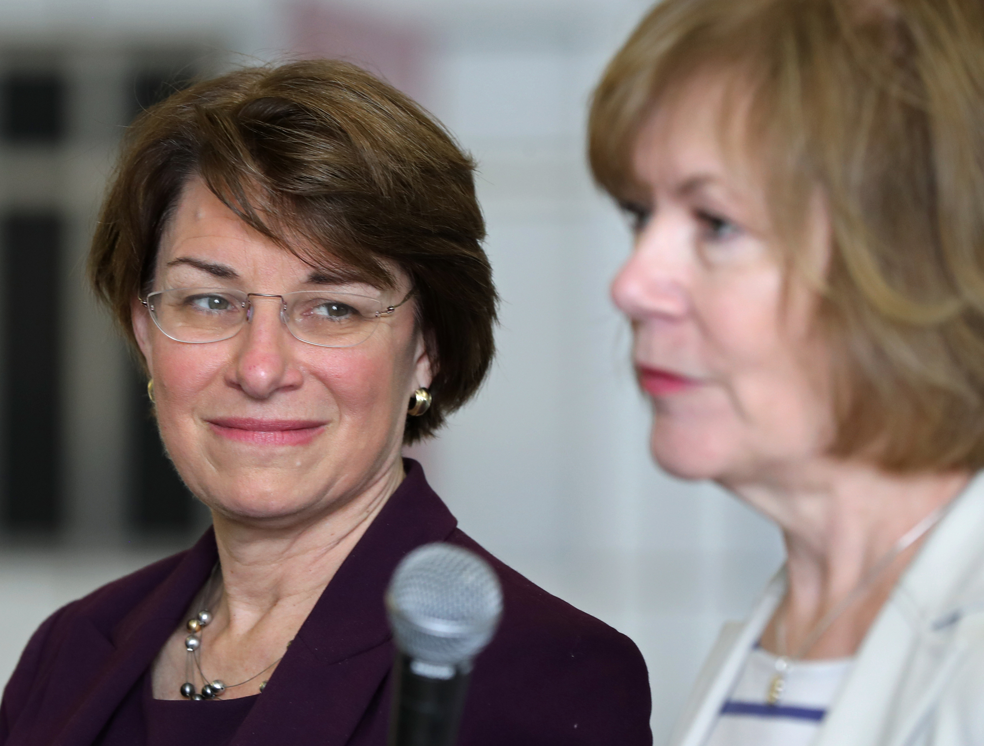 CURRENT MINN. SEN. AMY KLOBUCHAR (D) WILL BE JOINED BY CURRENT MINN. LT. GOV. TINA SMITH (D), TAPPED BY MINN. GOV. MARK DAYTON TO REPLACE CURRENT SEN. AL FRANKEN, WHO IS RESIGNING.
