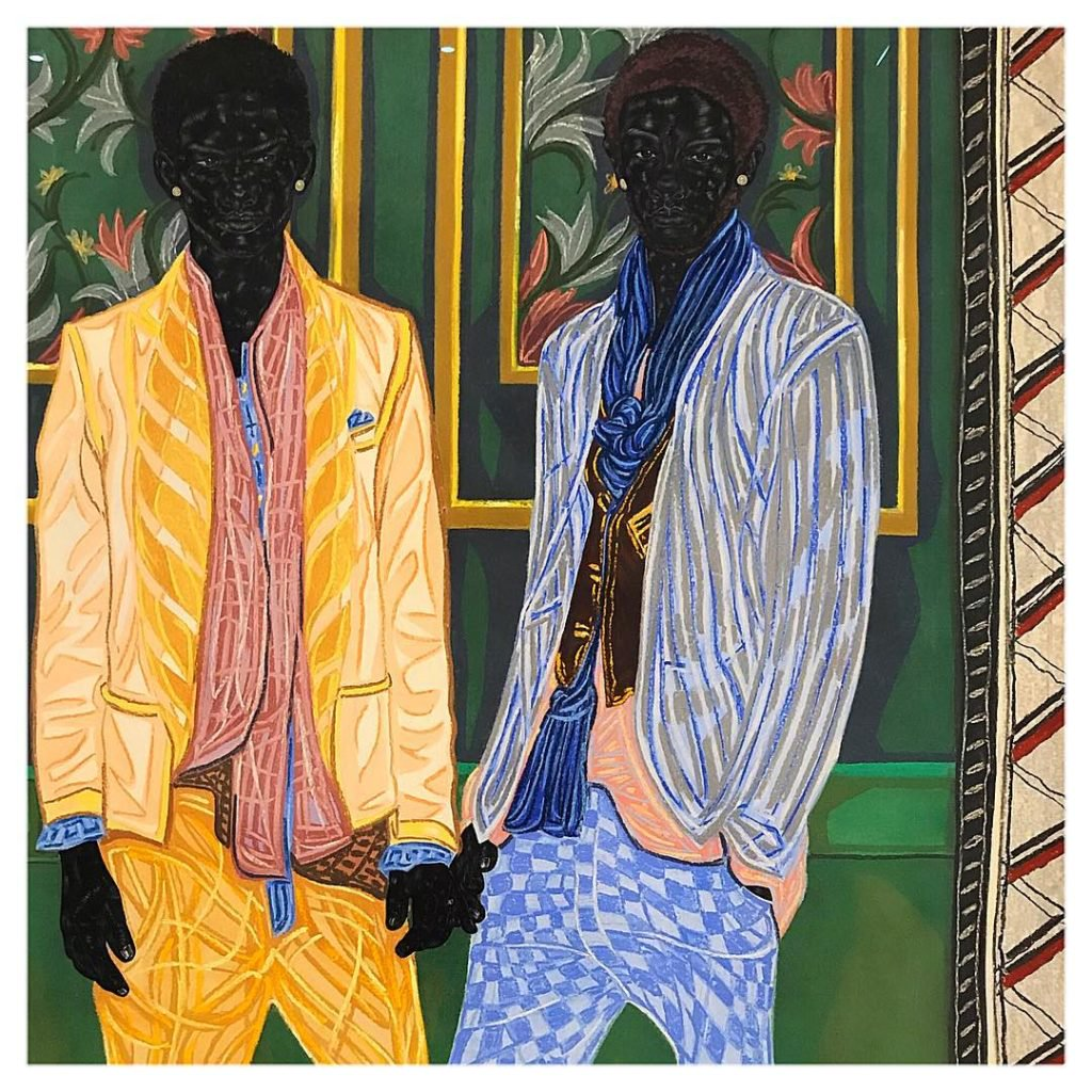 Toyin Ojih Odutola's  Newlyweds On Holiday  (2016). ©Toyin Ojih Odutola. Courtesy of the artist and Jack Shainman Gallery, New York.