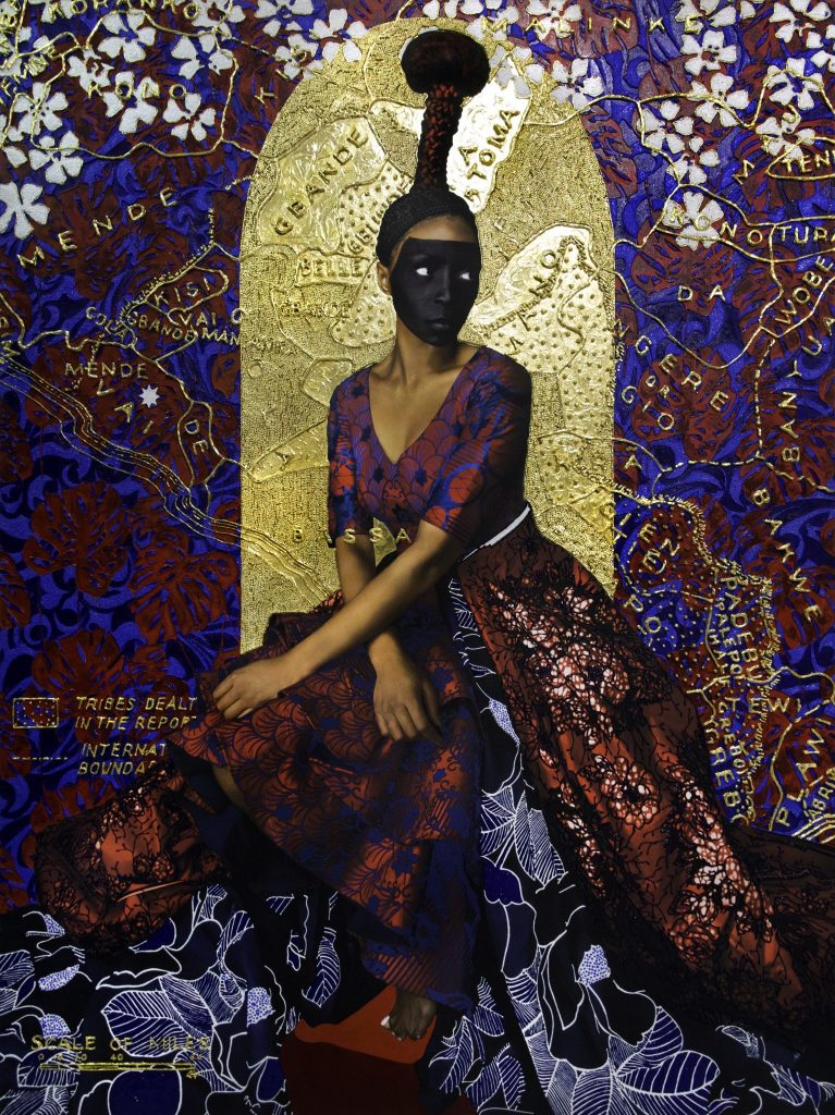 Eleventh.  2018. Lina Iris Viktor. Pure 24-karat gold, acrylic, gouache, print on canvas. 65 x 50 in. Collection of the artist, Courtesy the artist and Mariane Ibrahim Gallery, Seattle