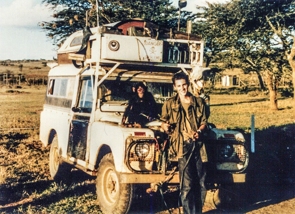 GlamTribal muse Dan Eldon and his Land Rover Desiree.