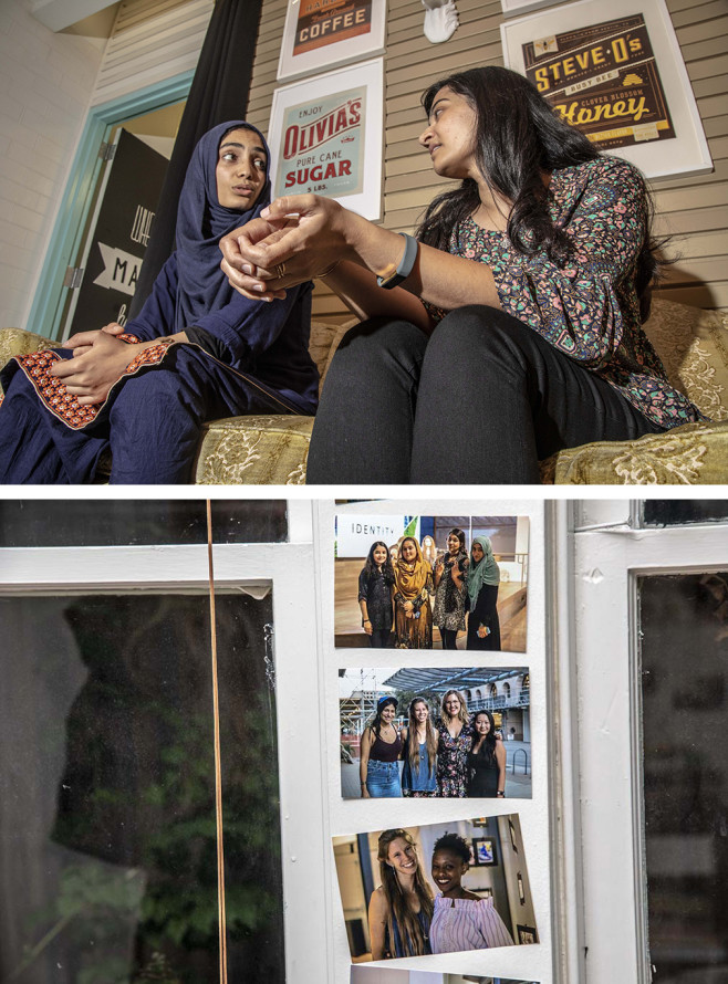 Top: Fatima and her mentor, Wajiha, meet up weekly to catch up. Bottom: In the middle photo, Blair Brettschneider, the founder of GirlForward is flanked by her Austin staff. | Mark Peterson/Redux Pictures for Politico Magazine
