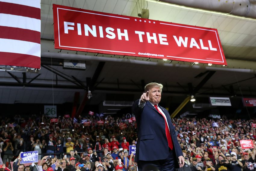 President Donald Trump held the first rally of his 2020 re-election campaign Monday at the El Paso County Coliseum while possible Democratic challenger Beto O'Rourke hosted a competing rally across the street. Image REUTERS/Leah Mills