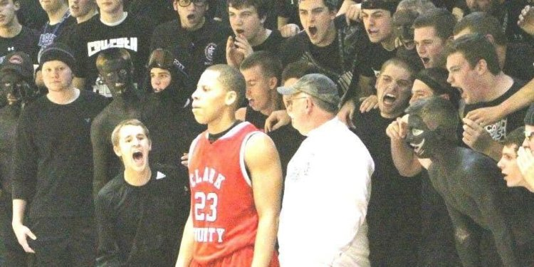 Covington Catholic High School young men wear blackface at basketball game. 2012. Note that the Covington young men, wearing Trump's MAGA hats, were in the news recently, involved in a confrontation in Washington, DC after attenting an anti-abortion rally. Both the Covington students and adults felt that they were unfairly presented in the press. This photo from a YouTube video was pulled down this week but not before an enterprising journalist made a copy of the video. It shows Covington students in blackface. Other videos and images of the Covington students are also surfacing showing other forms of disrespect to people of color and young women. Note that this is the same school — Kentucky's Covington Catholic High School — but probably not the same young men, as the image is from a 2012 basketball game.