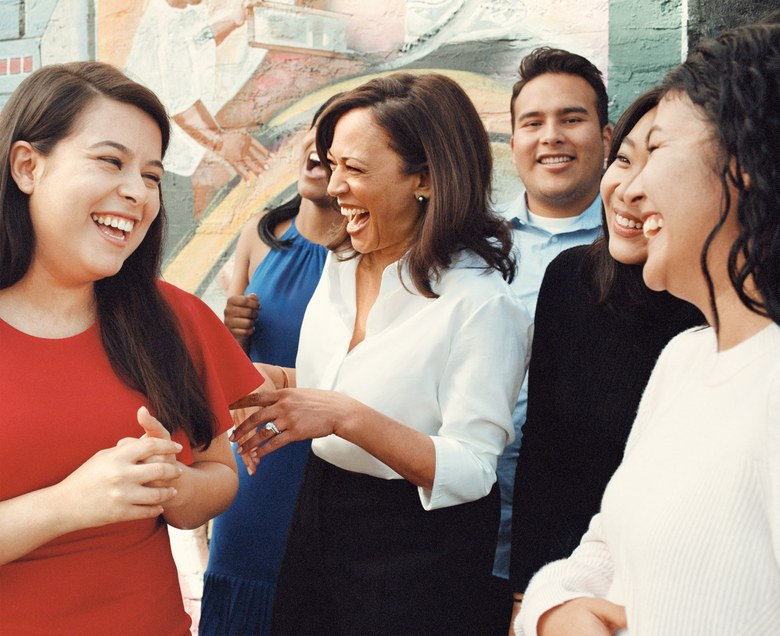 Harris in Los Angeles with beneficiaries of the DREAM Act—which the senator has made a priority to protect. Photographed by Zoe Ghertner, Vogue , April 2018