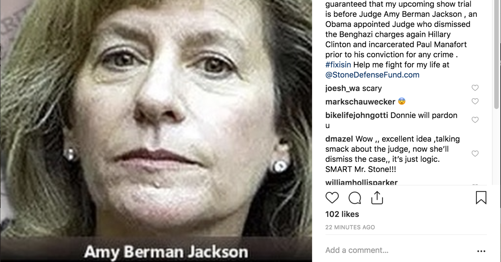 Roger Stone Instagram against Judge Jackson in crosshairs.png