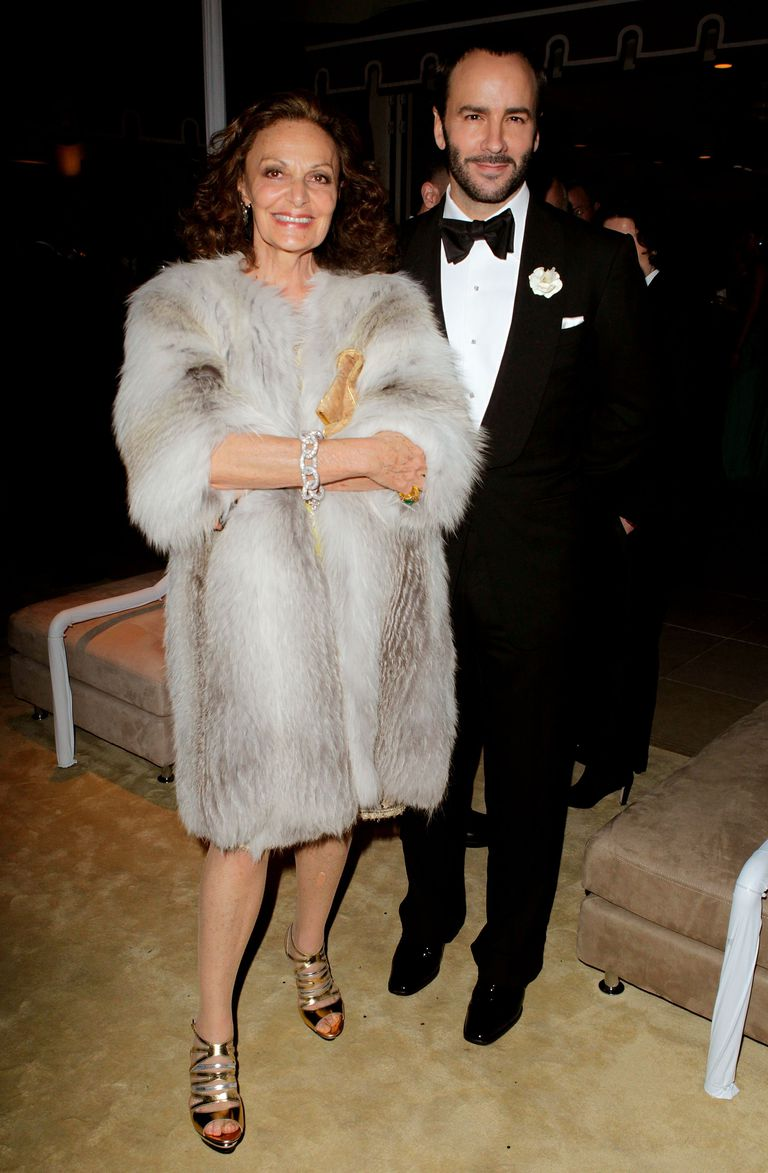 CURRENT CHAIRMAN OF THE COUNCIL OF FASHION DESIGNERS OF AMERICA DIANE VON FURSTENBERG AND INCOMING CHAIRMAN TOM FORD.