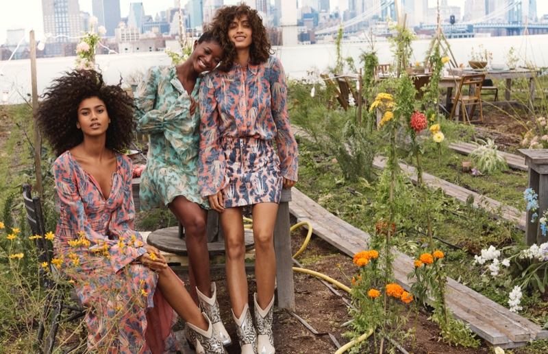 Oumie Jammeh, Alanna Arrington and Imaan Hammam have invited Gaia herself to their H&M Conscious Exclusive 2019 campaign garden party.