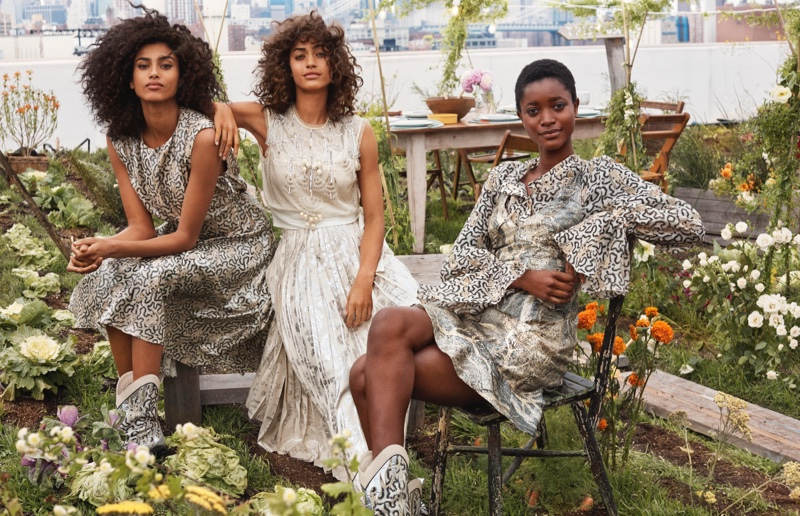 """Oumie Jammeh, Alanna Arrington and Imaan Hammam ask us """"Who is wearing chic clothes made of orange peel?"""" from the H&M Conscious Exclusive 2019 campaign."""