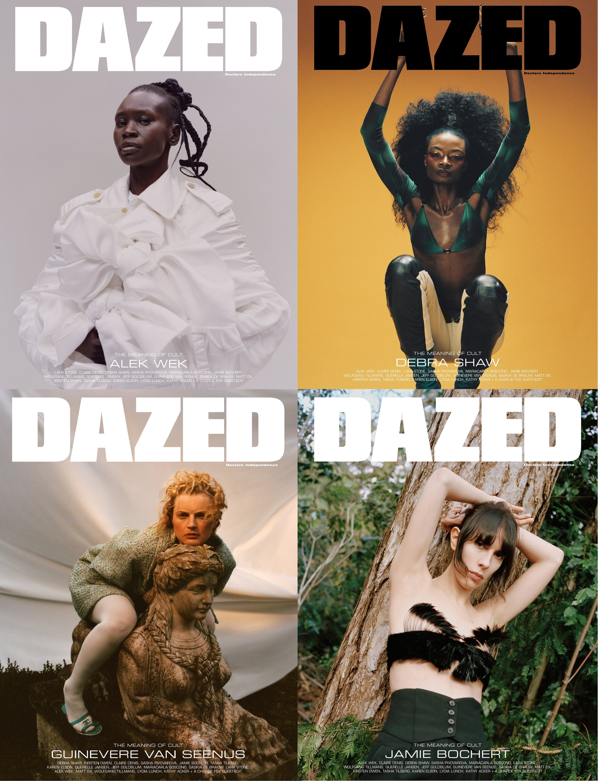 Alek Wek by Tyler Mitchell, Debra Shaw by Campbell Addy, Guinevere Van Seenus by Tom Johnson, Jamie Bochert by Letty Schmiterlow