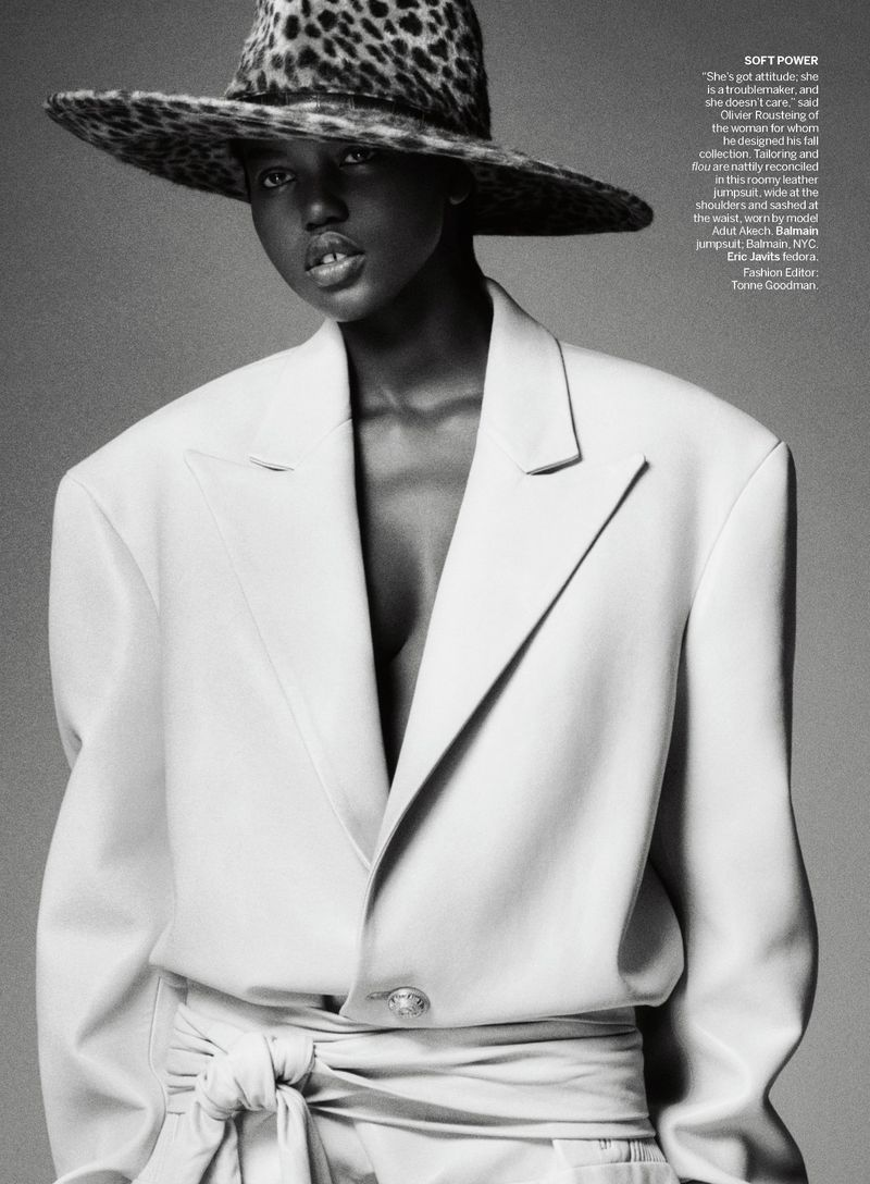 Lady Boss Adut Akech is lensed by Theo Sion in 'Suit Yourself'.  AOC has a stellar archives for  Adut Akech.