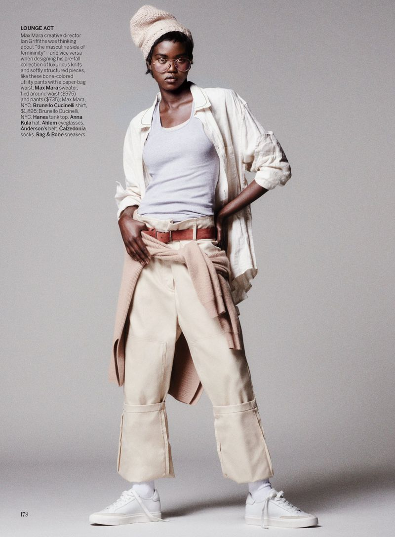 Self-proclaimed 'always a refugee model' Adut Akech tries casual looks for 'Suit Yourself'.