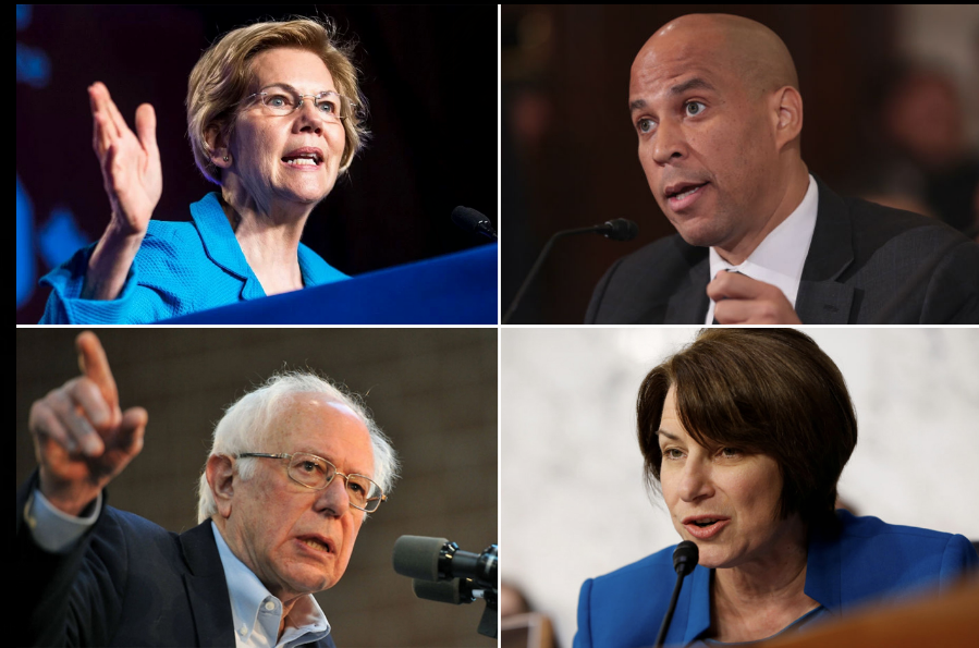 From top left: Democrats Elizabeth Warren, Cory Booker, Bernie Sanders, Amy Kloubuchar (AP photos)