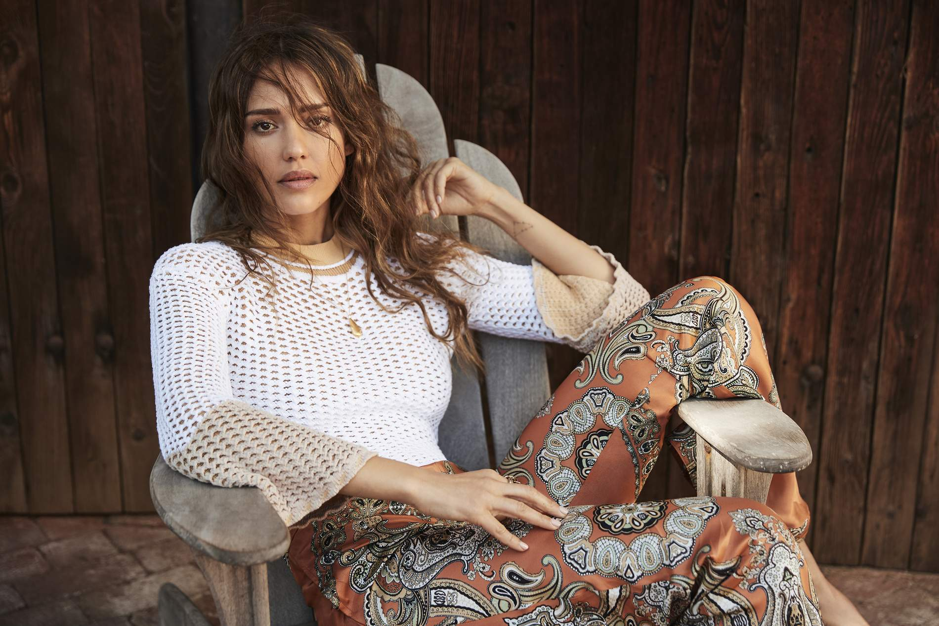 Jessica Alba Talks Leading An 'Honest Life' , Wearing Sweater and Pants from Chloé , Lensed By Will Davidson