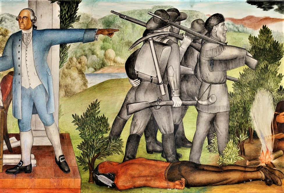One of the objectionable panels depicts a dead Native American.  Dick Evans ,  CC BY