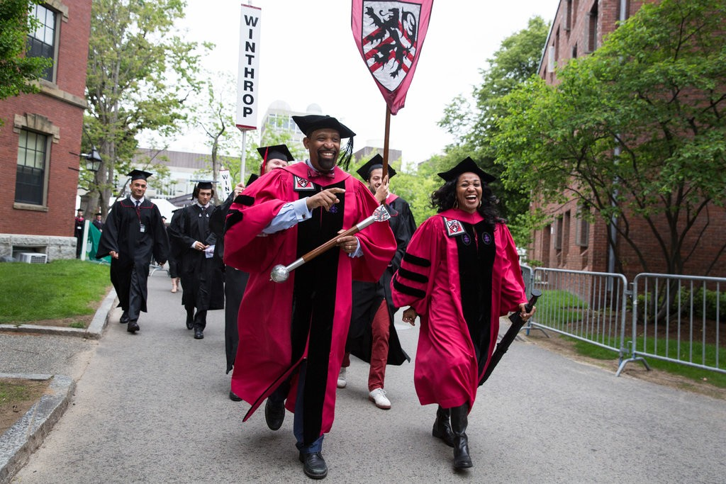 Ronald S. Sullivan Jr. and Stephanie Robinson led Winthrop House to commencement in 2017. They were the first African-American faculty deans in Harvard's history.CreditCreditKayana Szymczak for The New York Times