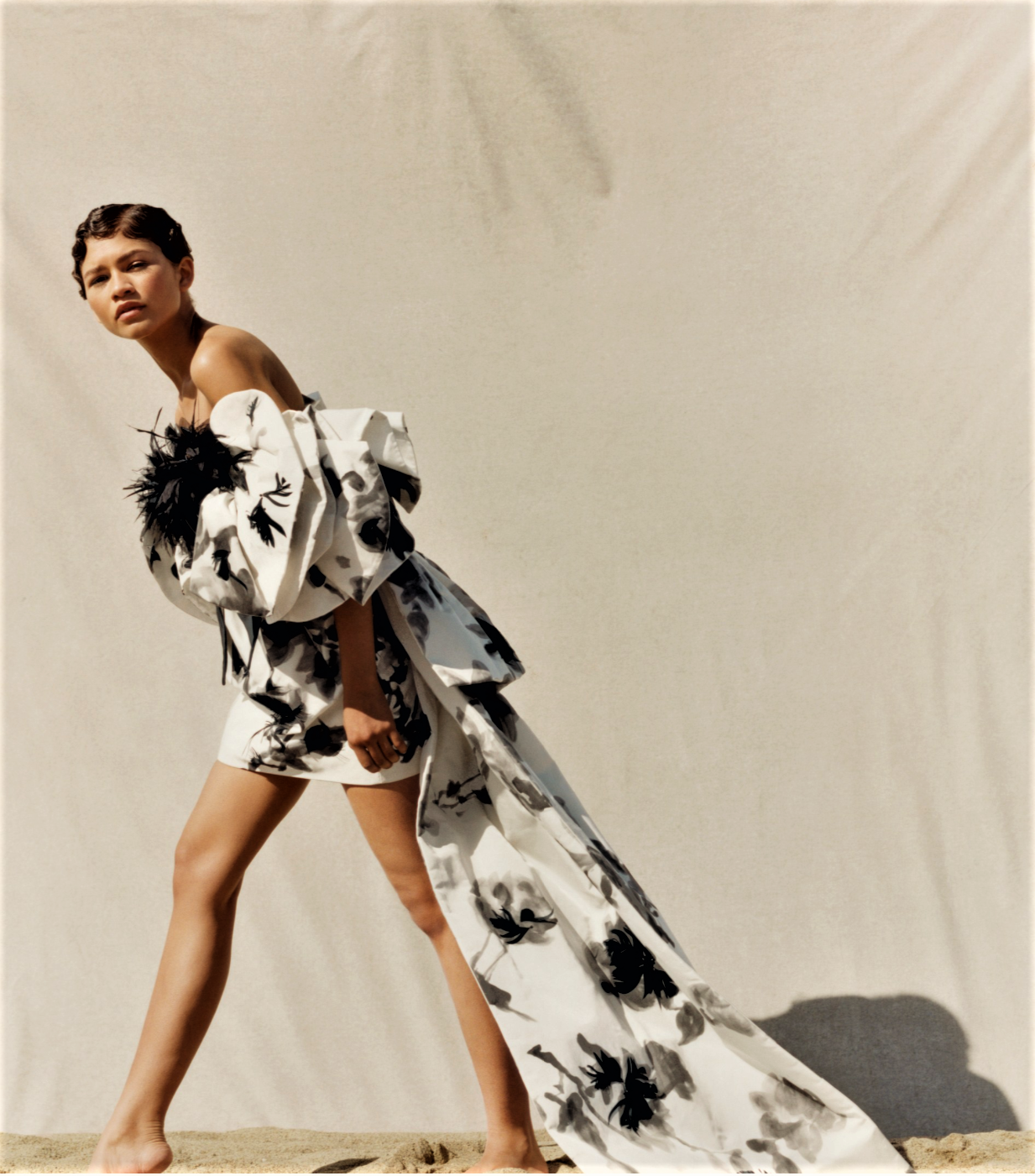 Zendaya poses in Marc Jacobs dress lensed by Tyler Mitchell for Vogue US June 2019.