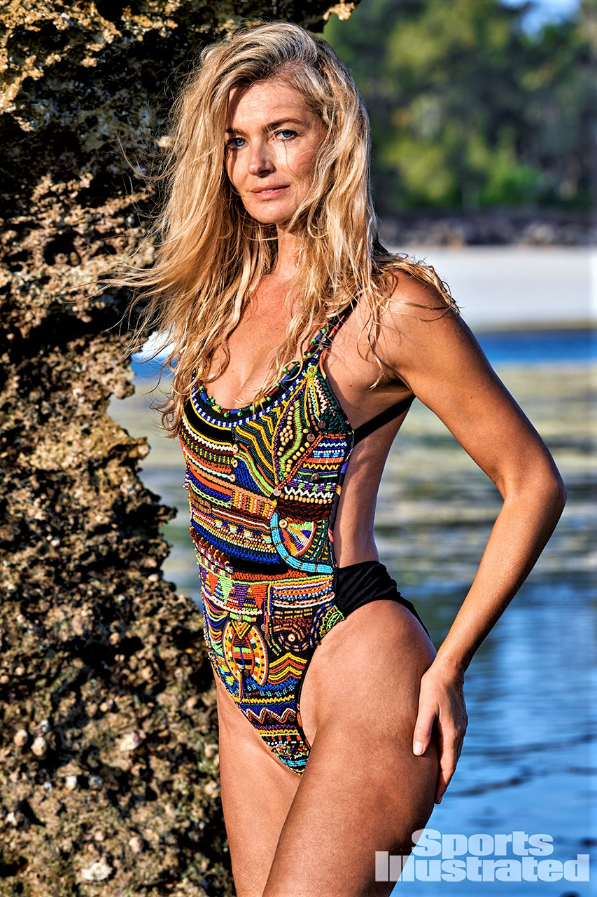 Paulina Porizkova is in Kenya, but her swimsuit is from Aqua Bendita and made in Colombia, SA