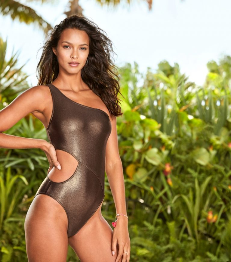 VS Angel Lais Riberio loves a metallic finish on her skin revelation one-piece swimsuit.