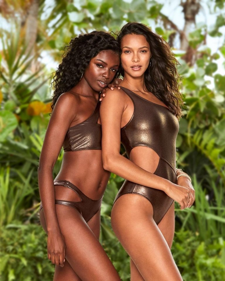 Leomie Anderson and Lais Ribeiro assume beach goddess poses for Victoria's Secret SS2019 swim.