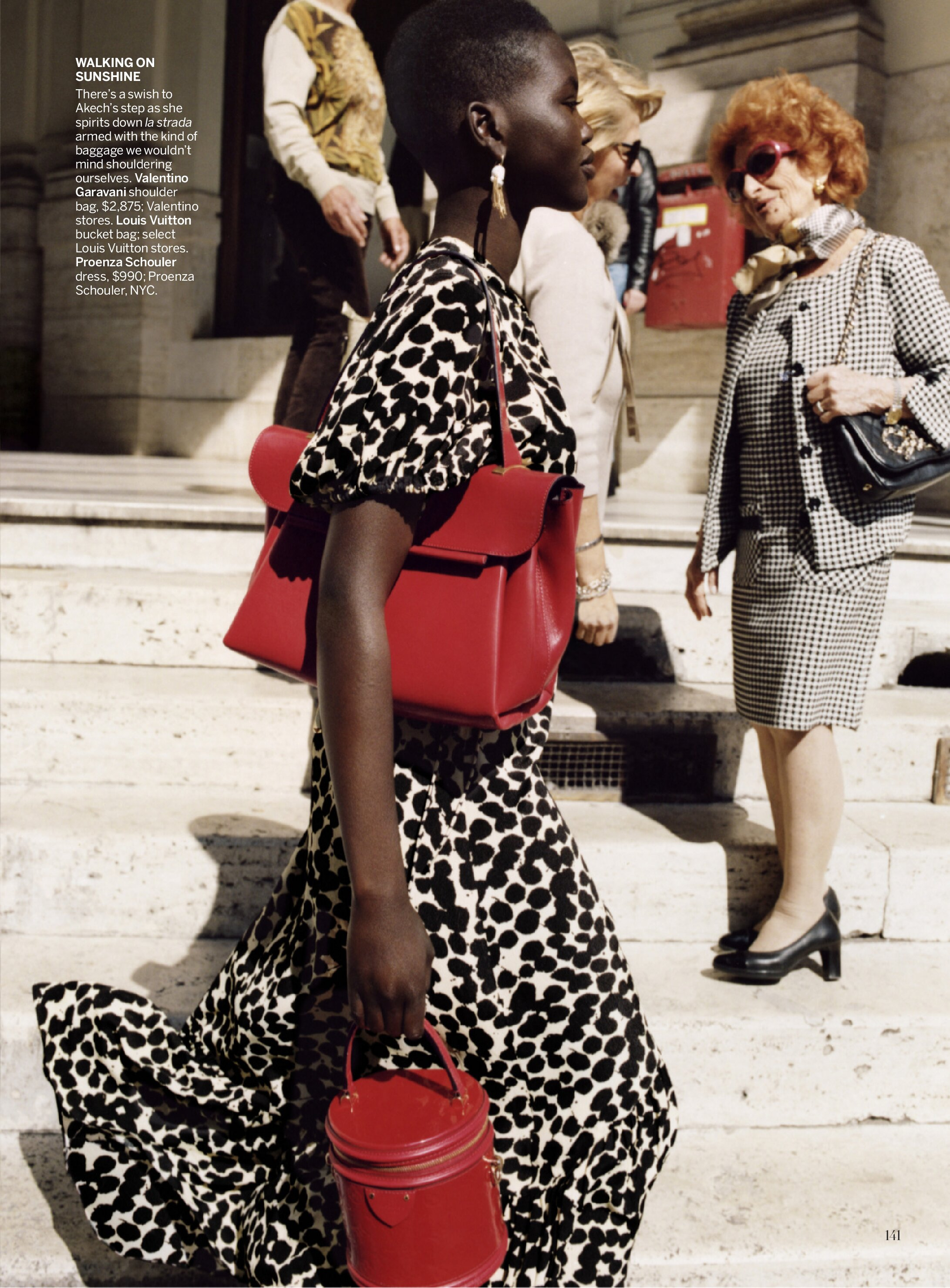 Adut Akech by Angelo Pennetta in Italy for American Vogue.