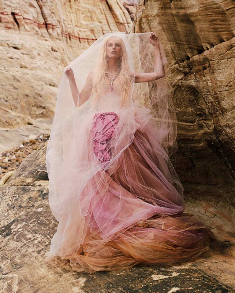 Karolina Kurkova in Vera Wang silk and tulle dress For HTSI Magazine June 2019