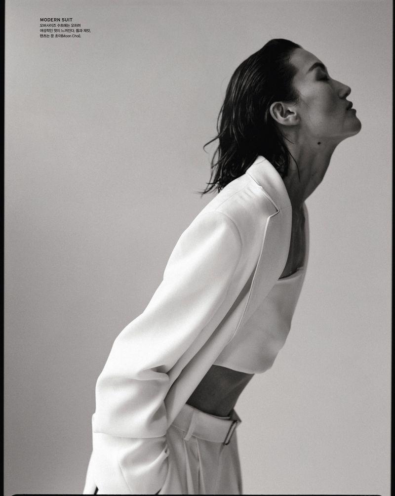 Lina Zhang in sensual tailoring by Hyea W. Kang for Vogue Korea