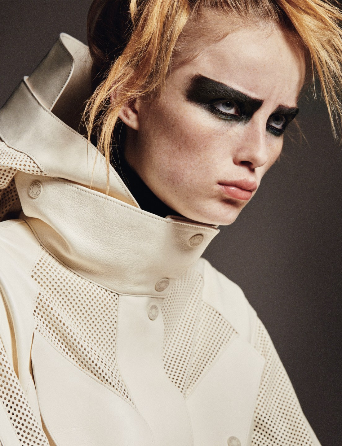 Rianne Van Rompaey wears modern mesh in a 'Command Performance' by Theo Sion