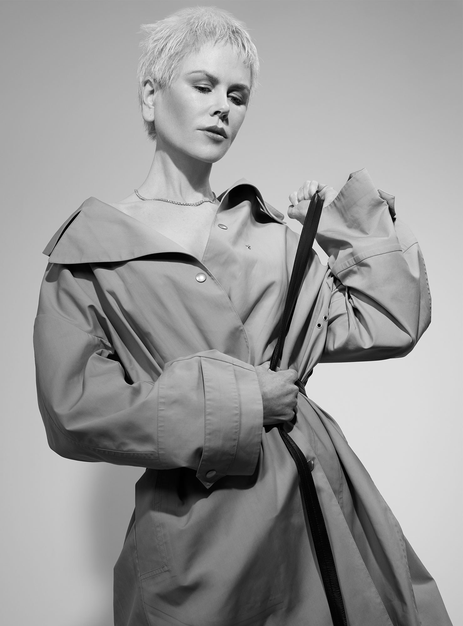 Nicole Kidman by Collier Schorr. Coat by Dior; necklace by Tiffany & Co.