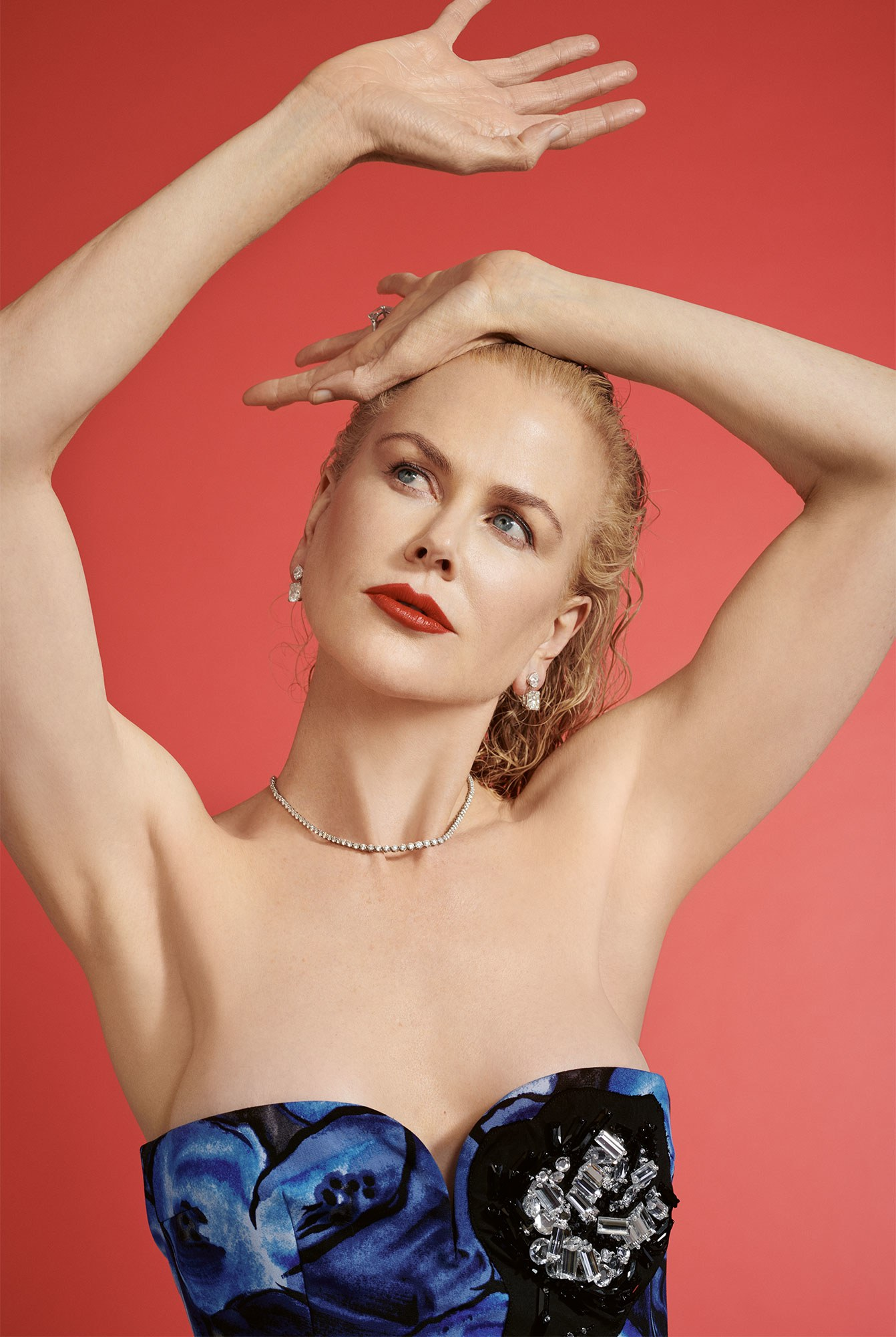 """""""My mom always told us to 'get a cause!' """" From the U.N. to Stanford's Women's Cancer Center, Kidman got several. Dress by Prada; earrings by Chopard; necklace by Tiffany & Co. Nicole Kidman by Collier Schorr."""