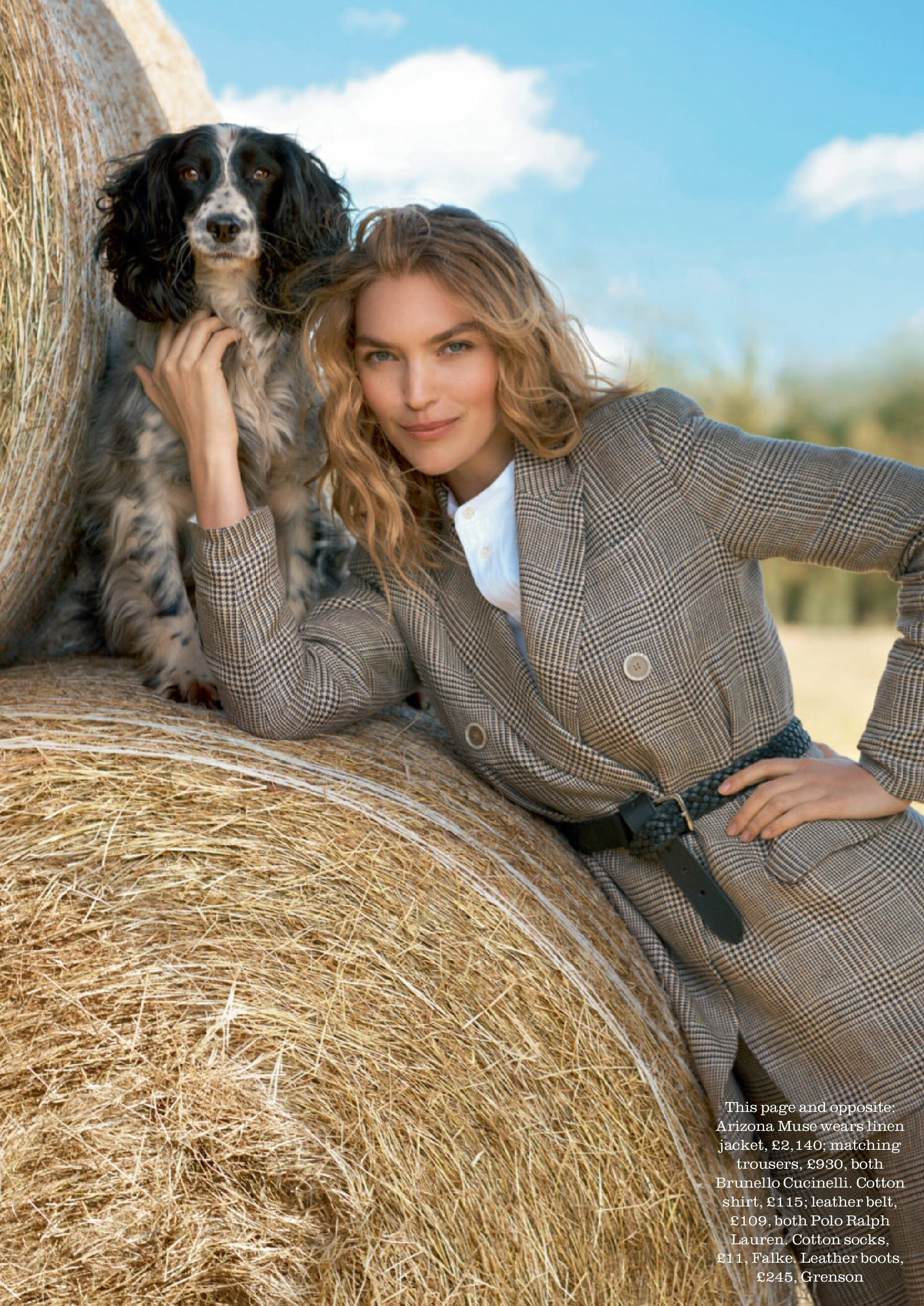 ARIZONA MUSE WEARS LINEN JACKET AND MATCHING TROUSERS, BOTH BRUNELLO CUCINELLI. COTTON SHIRT; LEATHER BELT, BOTH POLO RALPH LAUREN Image: Richard Phibbs