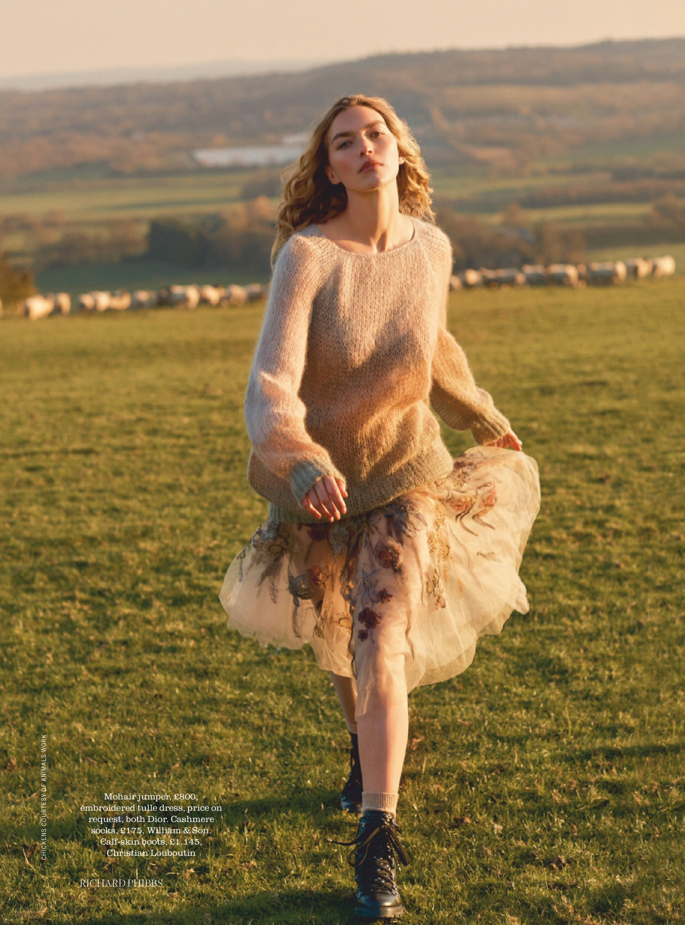 MOHAIR JUMPER; EMBROIDERED TULLE DRESS, PRICE ON REQUEST, BOTH DIOR. CASHMERE SOCKS, WILLIAM & SON. CALF-SKIN BOOTS, CHRISTIAN LOUBOUTIN. RICHARD PHIBBS