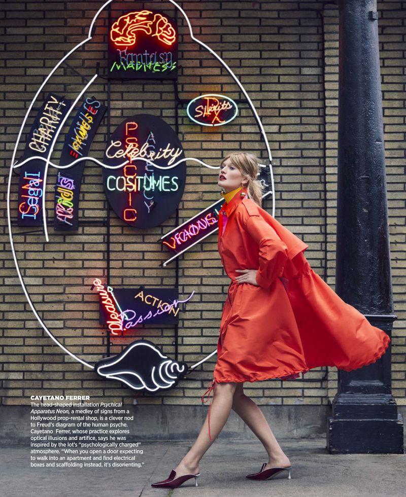 Toni Garrn Spins a Head or Two At Frieze LA Lot For Harper's Bazaar US June 2019